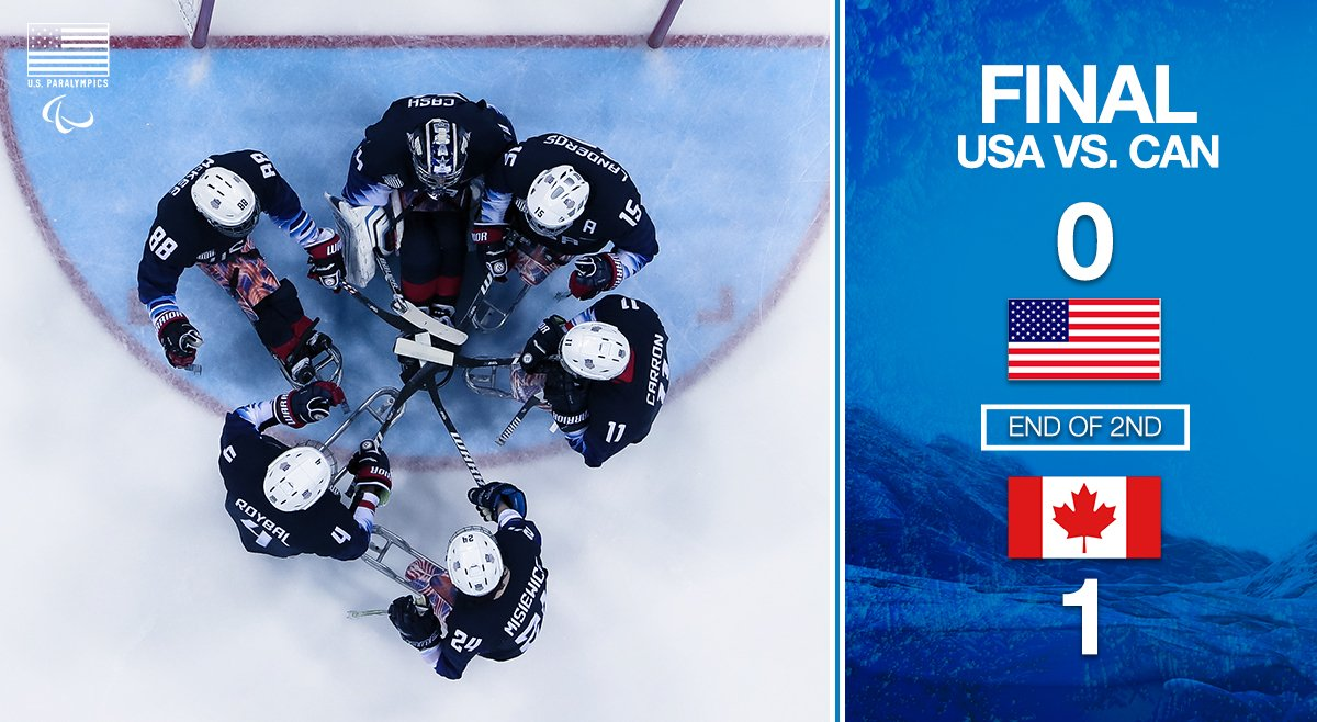 Score remains #CAN 1, #USA 0 at the end of the second! #WinterParalympics