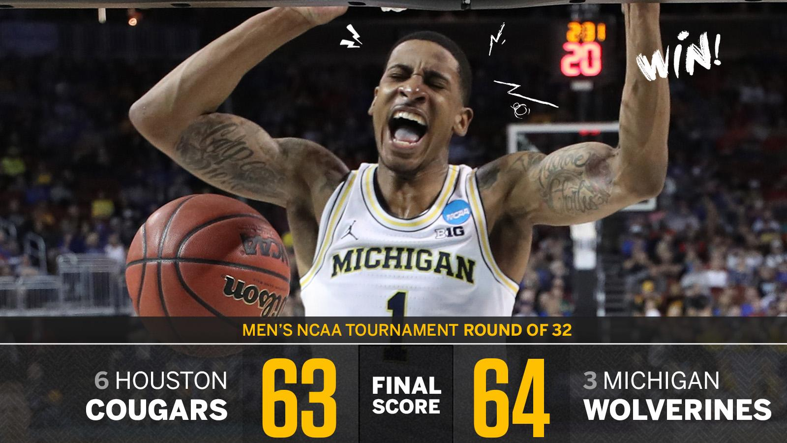 Michigan moves on!   The Wolverines make the Sweet 16 for the 4th time in their last 5 tourney appearances. https://t.co/U47Otvf2L3