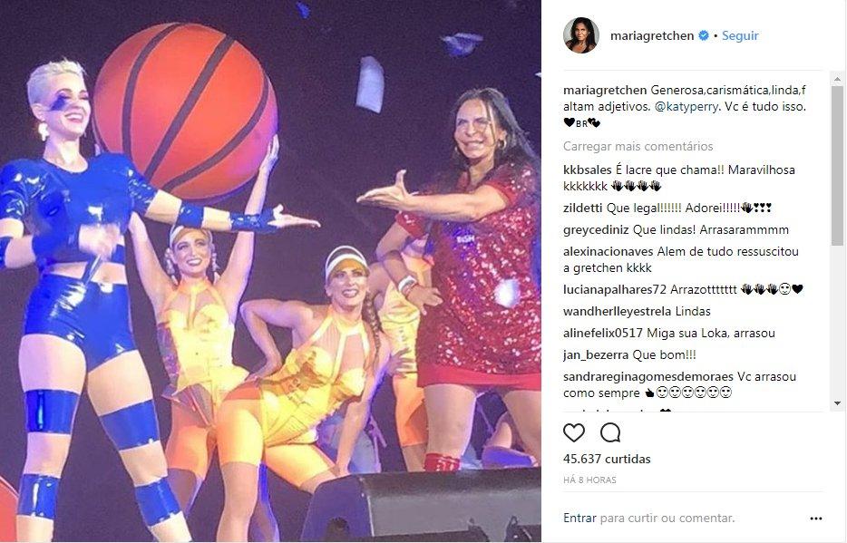 Gretchen participa de apresentação de Katy Perry em São Paulo https://t.co/9biI8kSrfN