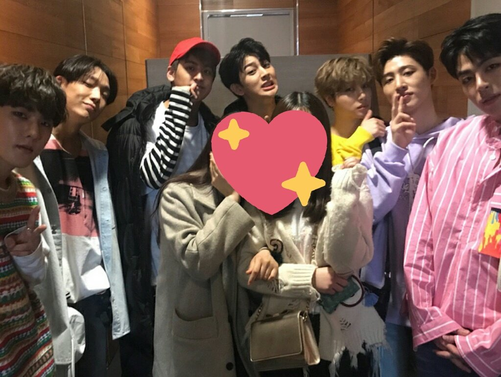 iKON with lucky fans at Music Core backs...
