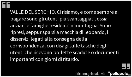 #ValleDelSerchio #Poste  e disservizi  h...