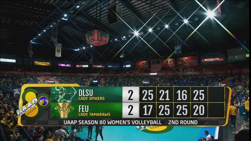DLSU Lady Spikers are not done yet! Set 5 here we go! #UAAPSeason80Volleyball   LIVE NOW!   📺 ABS-CBN S+A, Liga   📱/💻 https://t.co/MN838qgl1A