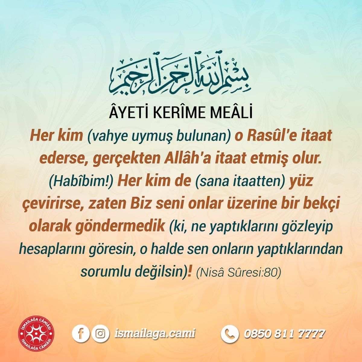 Âyeti Kerîme Meâli  #ismailağa #Ayet htt...
