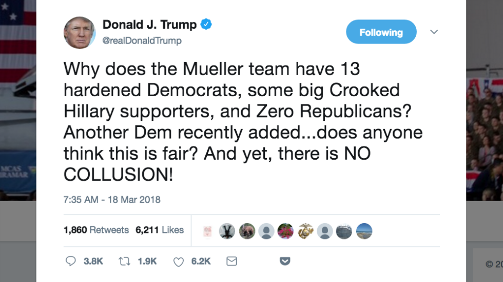 Trump rips makeup of Mueller's team, repeats claim that there was no collusion https://t.co/OkwsvXfKQC