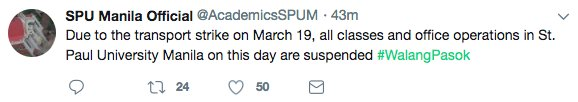 #WalangPasok : Due to the transport strike on March 19, all classes and office operations in St. Paul University Manila on this day are suspended | vi @AcademicsSPUMa