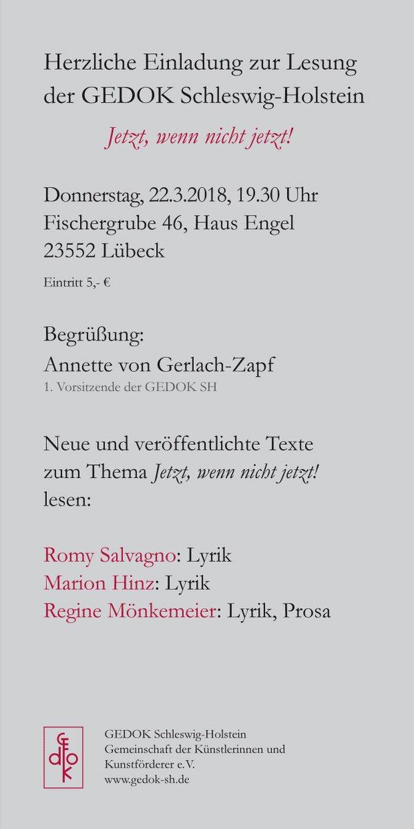 Regine Mönkemeier On Twitter Einladung Zur Gedok Lesung Am