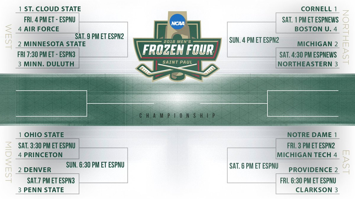 Ncaa Ice Hockey On Twitter Bracket With Game Times And Broadcast