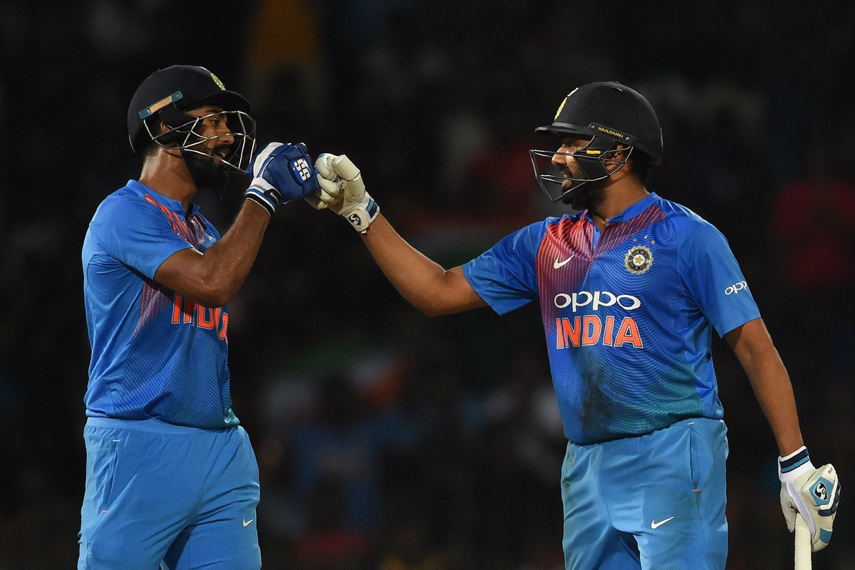 India win the Nidahas Trophy! 🏆  @ImRo45's 56 and an eight-ball 29 from @DineshKarthik claim a 4 wicket victory in a thrilling final, Karthik hitting the winning six on the final ball!  #INDvBAN scorecard ➡️ https://t.co/hhU5StYBxT