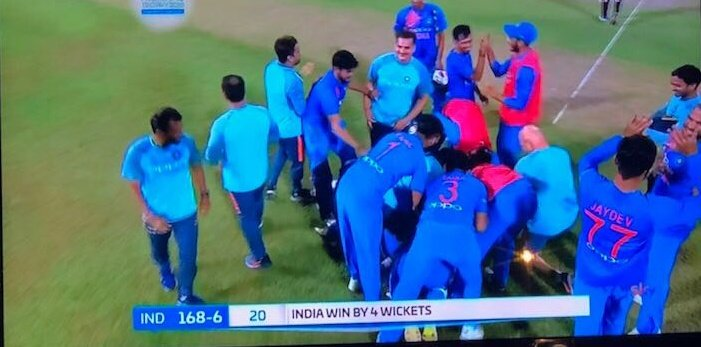 Amazing victory by #TeamIndia. Superb batting by @DineshKarthik. A great knock by @ImRo45 to set the platform.  What a finish to a final!!  #NidahasTrophy2018 #INDvsBAN