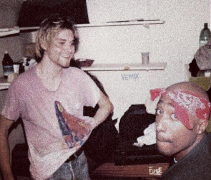 Rare pic of PAC x Kurt Cobain together in the early 90s.