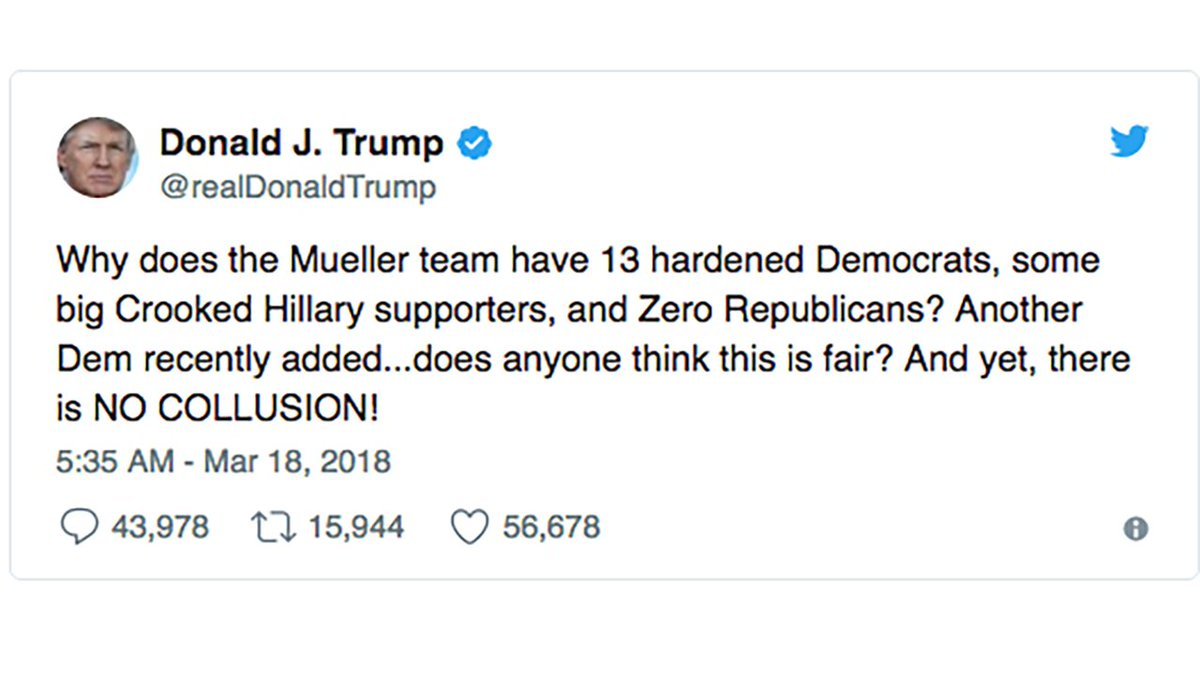 Mueller's Russian collusion probe 'should never have been started,' Trump tweets: https://t.co/X00kWKufyN