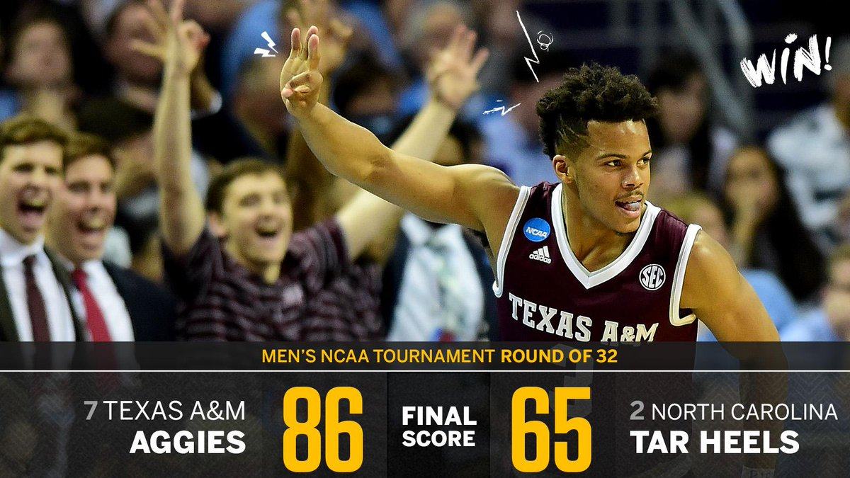 The defending champs are out!  Texas A&M dominates UNC as Roy Williams loses a tourney game by 20+ for the first time EVER.
