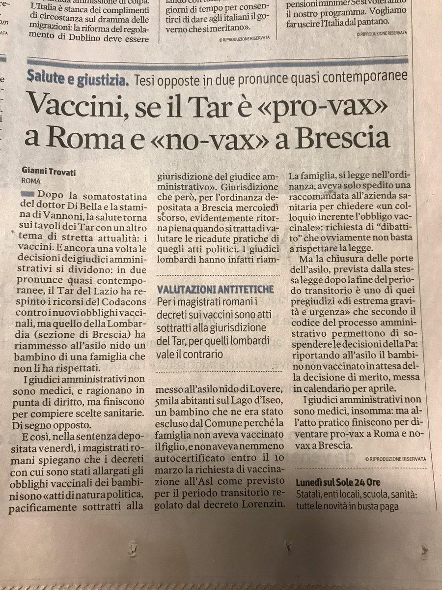 Ma che senso puo' avere mai, un Paese in cui anche i giudici amministrativi si dividono nelle loro pronunzie pro o contro i vaccini? #follia
