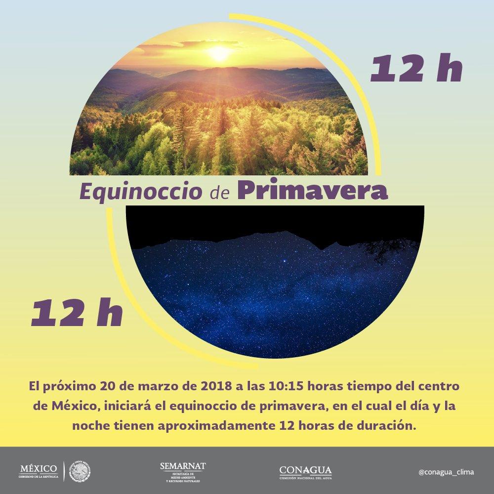 El próximo martes, a las 10:15 horas tiempo del centro de #México, ocurrirá el equinoccio de primavera en el Hemisferio Norte. Vía @conagua_clima:  https://t.co/7wuGhtoWxd