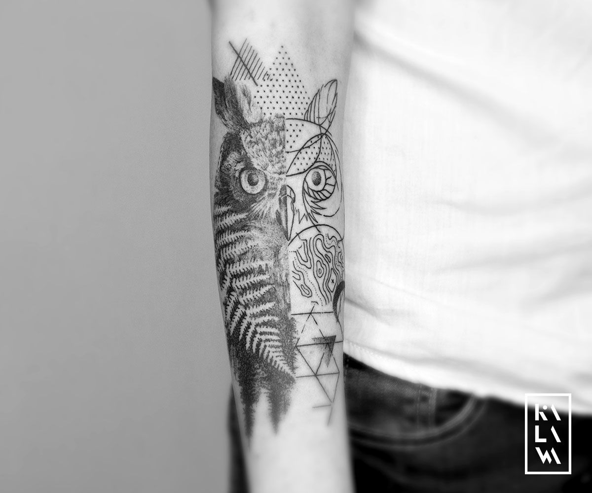 Kalawa Tattooer On Twitter Graphic Owl Tattoo On Forearm