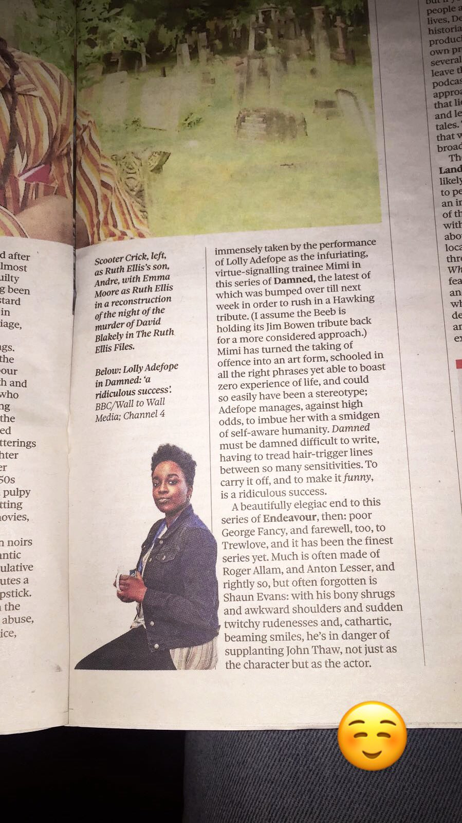 RT @lollyadefope: ✨✨ it me in the observer! ✨✨ DAMNED - @Channel4 - wednesdays - 10pm 💕💕💕 https://t.co/uN2T16yJwf