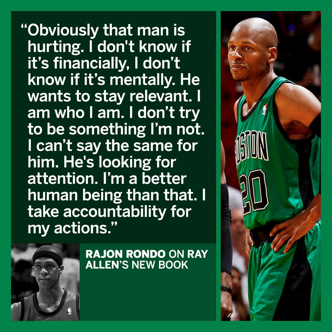Rajon Rondo didn't hold back when asked about Ray Allen's new book. https://t.co/pUTwrjMED6 https://t.co/czpeOqBu4u