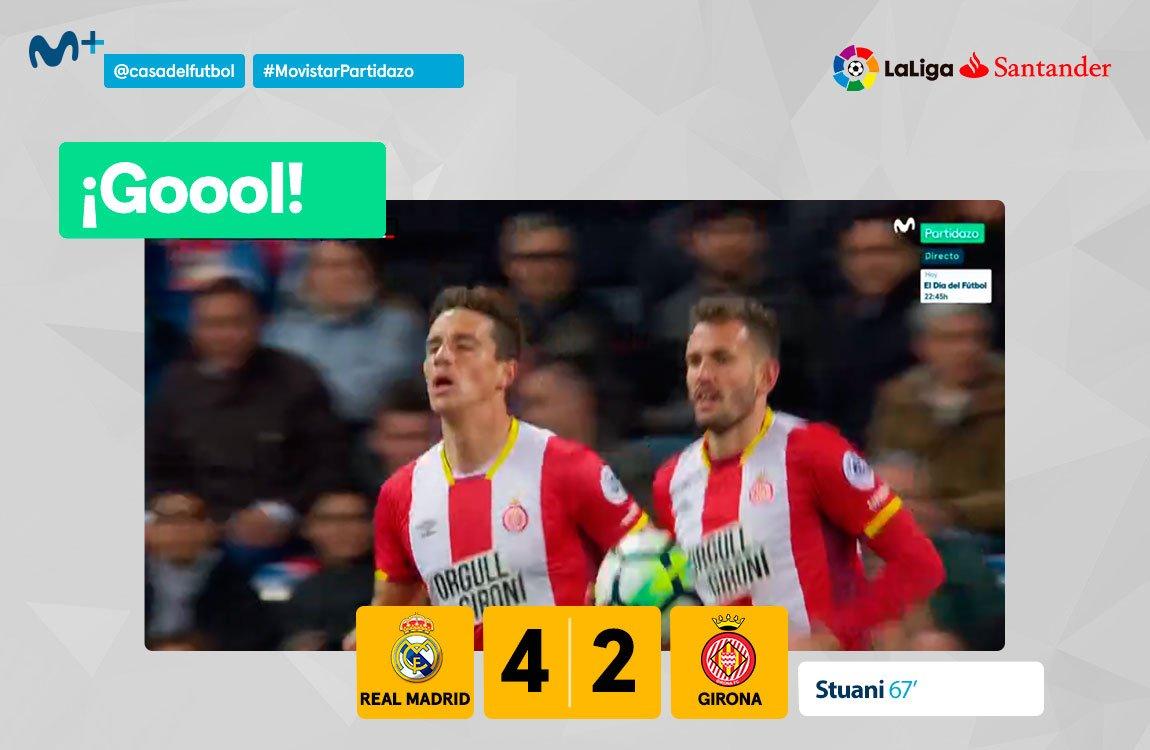 La temporada de Stuani está siendo espectacular. Doblete en el Bernabéu. #MovistarPartidazo