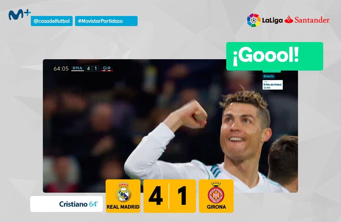 Desatado el Madrid. Infalible Cristiano, que añade otro hat-trick a la lista. #MovistarPartidazo