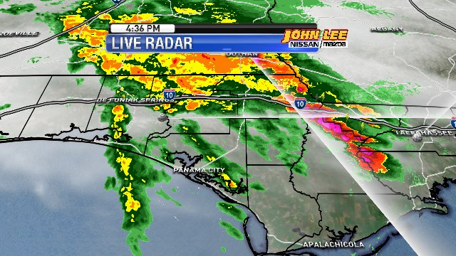 RADAR CHECK: A sheet of moderate to heavy rainfall stretches from north Walton to Jackson County. Panama City Beach will be getting another band of rainfall in about 20 minutes.