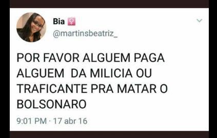 Mensagem de ódio se espalha contra Jair Bolsonaro