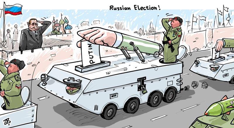 карикатура Путин на параде - ядерные ракеты