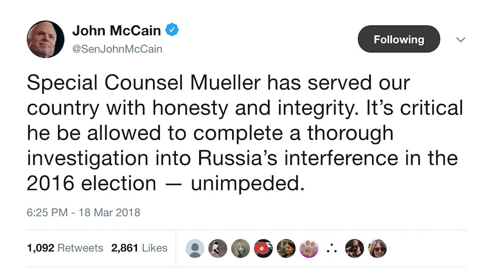JUST IN: McCain calls to protect Mueller after Trump attacks: It's 'critical' that he finish his probe https://t.co/8WpiMxcc5V