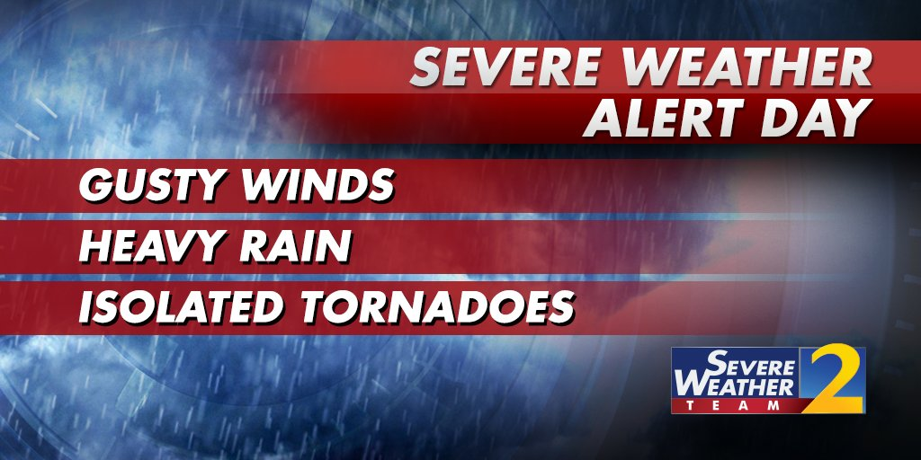 All types of severe weather are possible tomorrow, including tornadoes.   STAY with Severe Weather Team 2 on air and online at https://t.co/K29DA19Imw for the latest updates #StormWatchOn2 https://t.co/io1c20mAqz