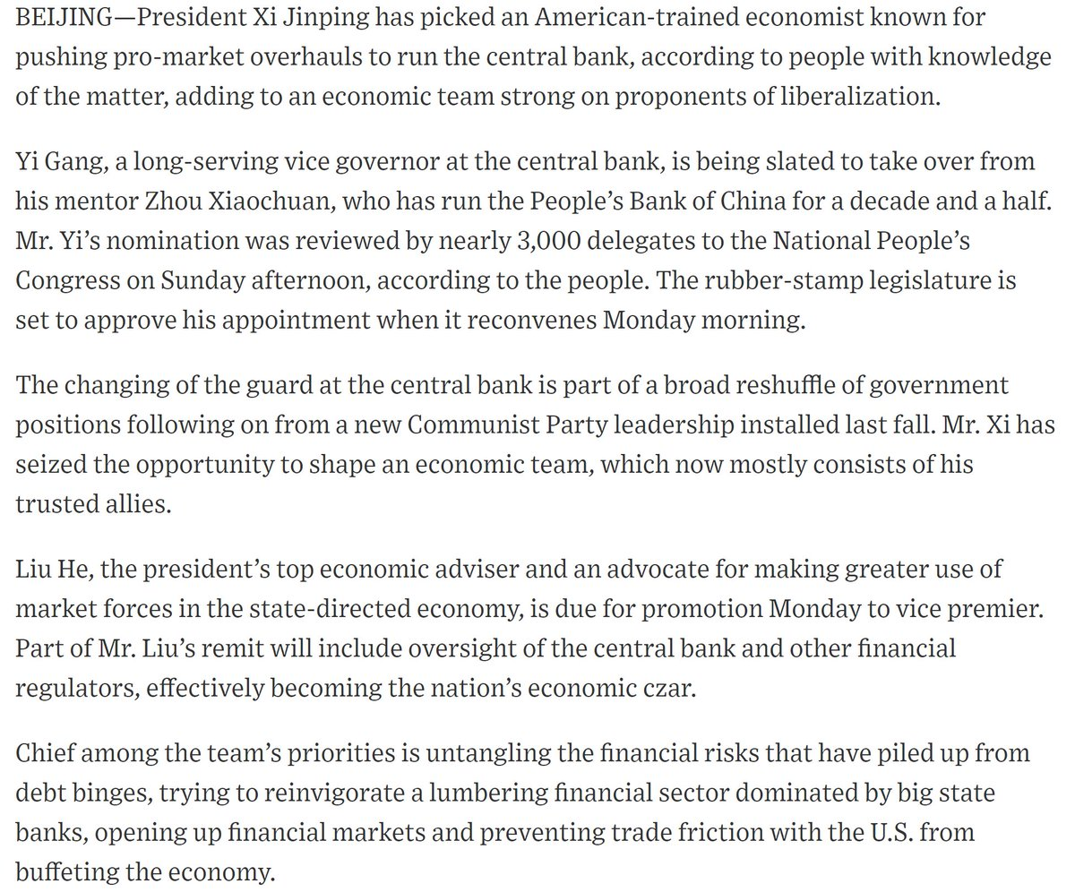 The @WSJ on the likely appointment of Yi Gang, #PBOC  vice governor, to replace Zhou Xiaochuan as governor of the central bank in #China  https://t.co/GtIGSBczVd  #economy #markets #centralbanks