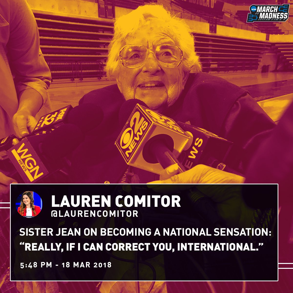 Sister Jean is going global 🌍  #MarchMadness