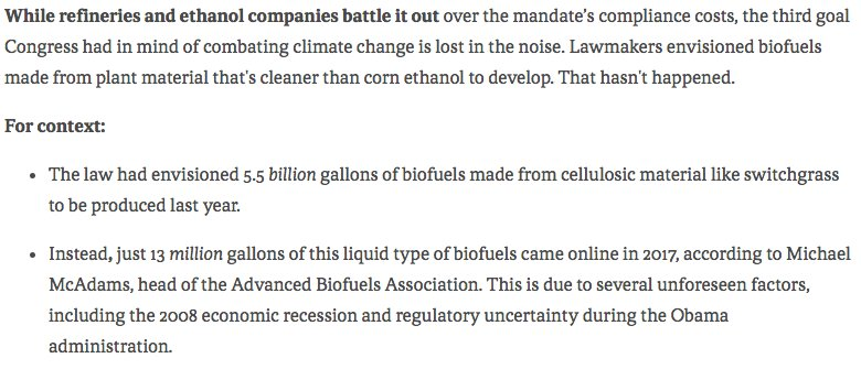 """Politician's remorse over biofuels mandate --> """"We had high expectations. But we are very much disappointed by the way this law has worked out,' says former Rep. . @WaxmanClimatehttps://t.co/lFSgZW80qP"""