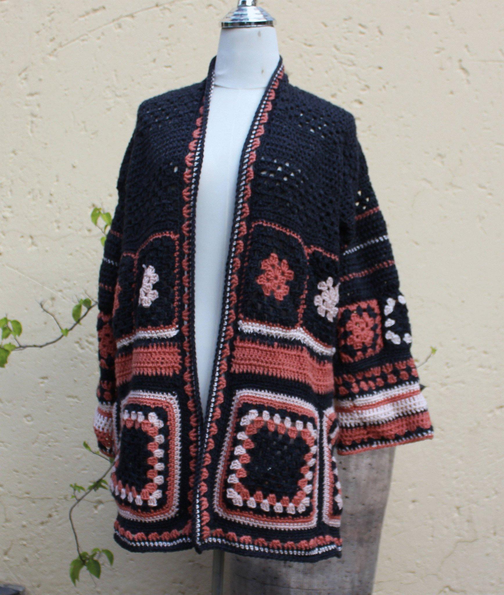 Navy Blue Crocheted Boho Duster,Long Granny Square Coat,Hippie Style Granny Square Coat,Ladies Winter Coat,Patchwork Long Coat