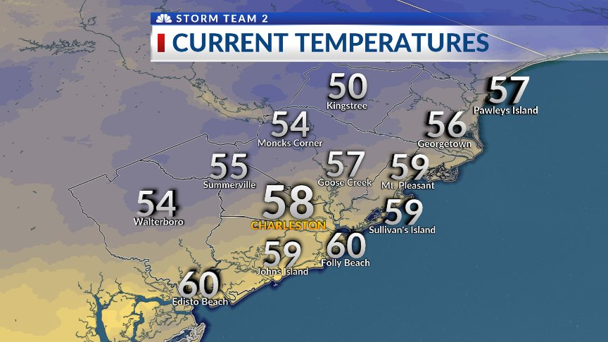 5 AM temps range from 50 in Kingstree to...