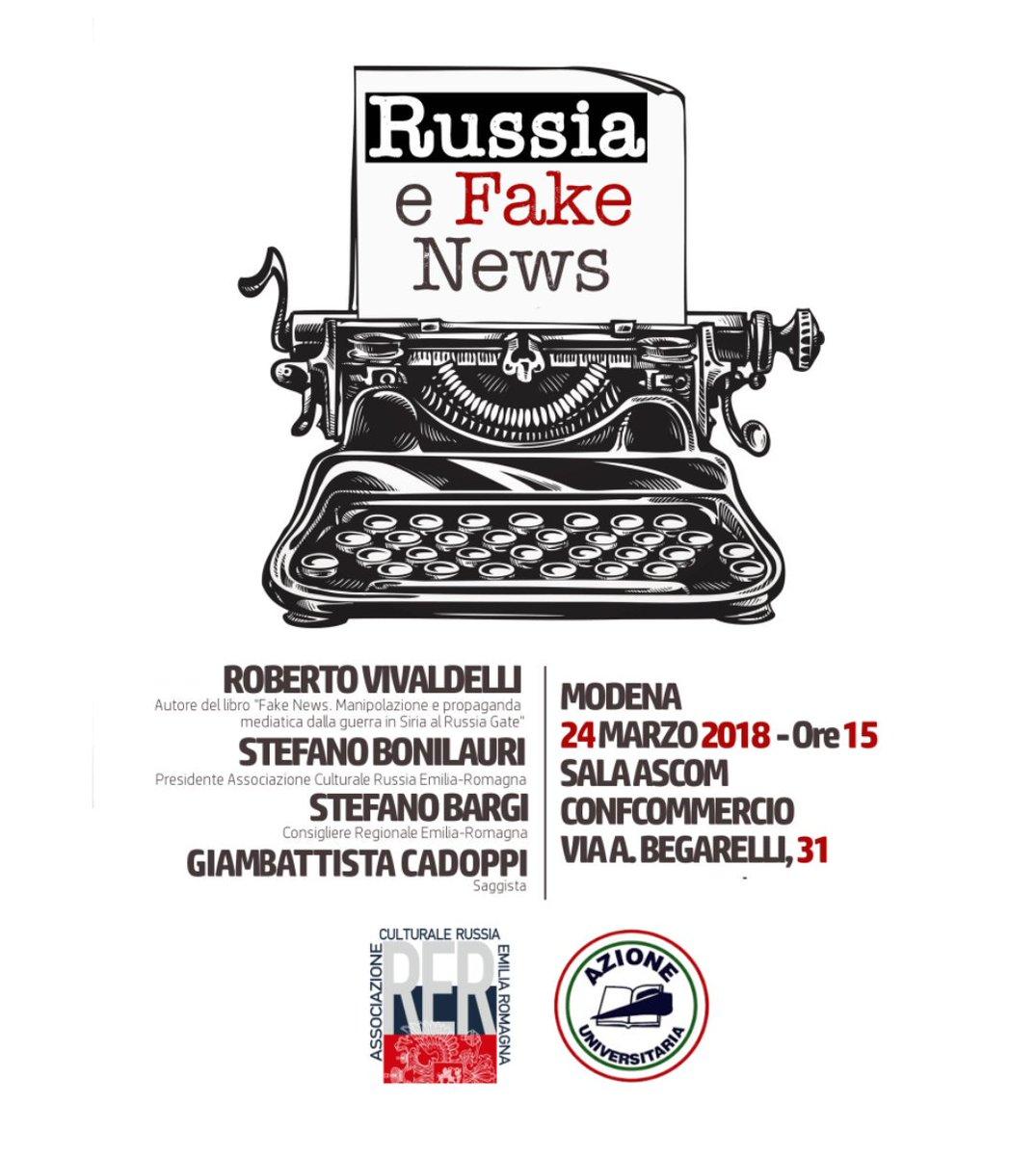 """A quasi una settimana dalle elezioni nello stato Russo, a #Modena, sabato 24/03, incontro su """"Russia e fake News"""". Per conoscere e soprattutto capire#Russia #FakeNews@AzioneUni @AASIB_ONG @bordoni_saker @rusembitaly @LombardiaRussia @ASRIE_Roma @NotizieGeopolit @NewRussiaPress  - Ukustom"""