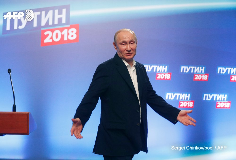 #UPDATE  Vladimir Putin is set for another six years in power after recording his best election performance with 76.67 percent of the vote in Russia's presidential electiohttps://t.co/L73iZUKHcHn