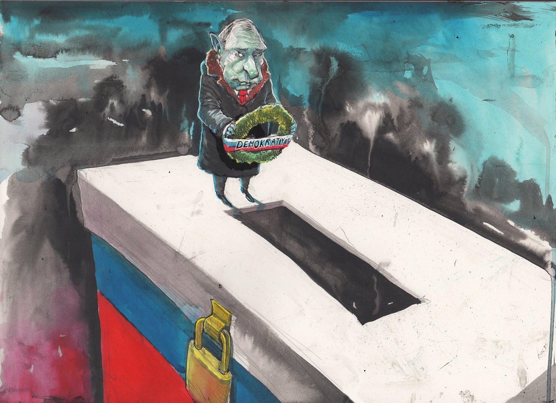 карикатура на Путина - конец демократии и последние выборы в России