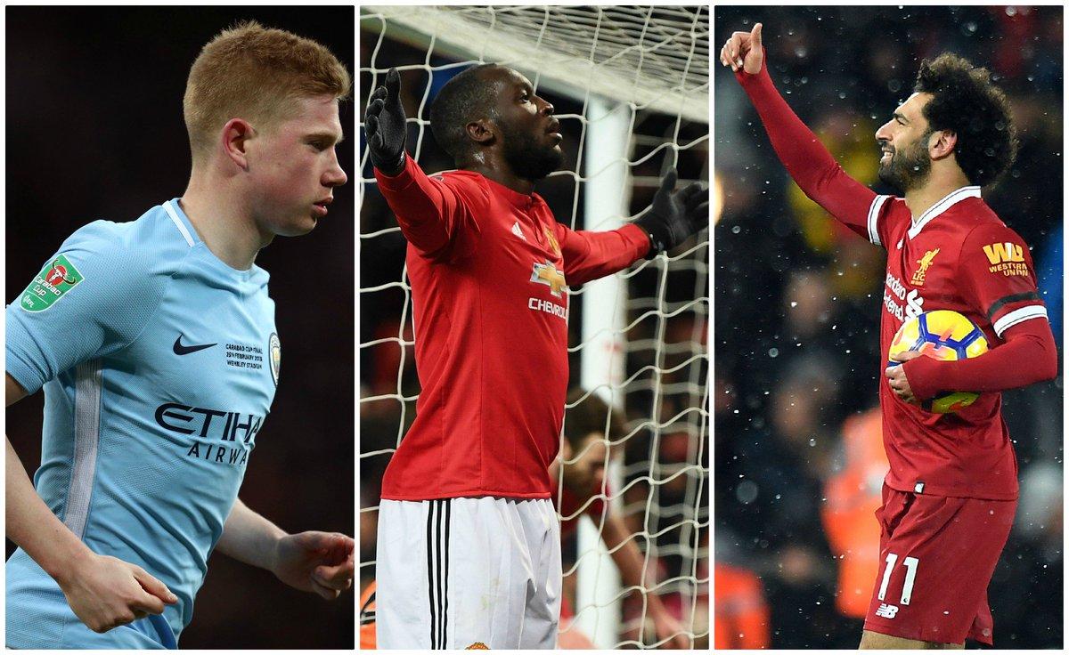 Three former Chelsea players: Mo Salah Kevin de Bruyne Romelu Lukaku 77 goals between them this season. LIVE: bbc.in/2G2OVvc