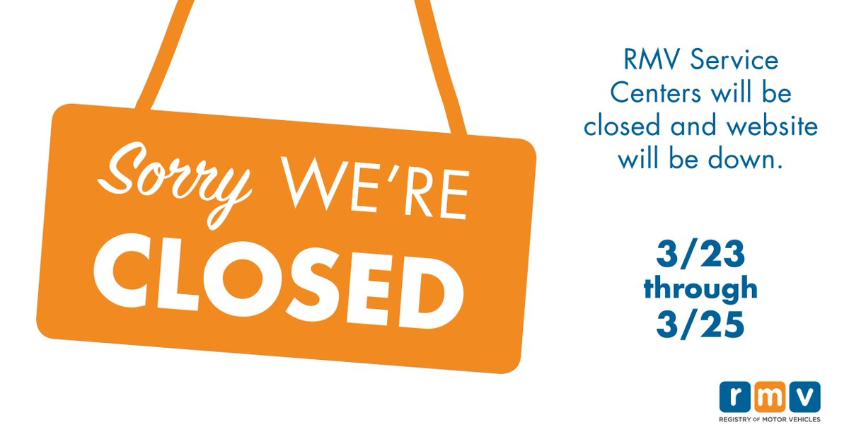 Renew today online at http://MassRMV.com . All RMV offices will be closed on 3/23. More here: http://ow.ly/m7sp30iO7f5 pic.twitter.com/YPhMpD2SIn