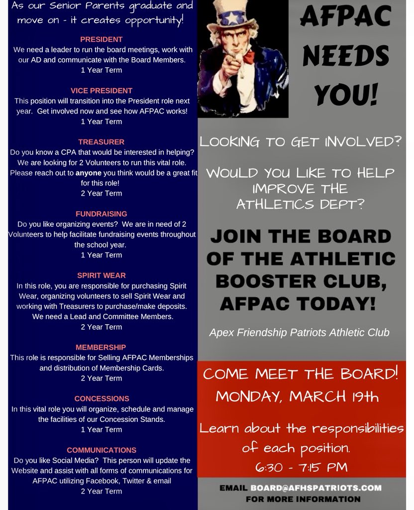 "Afpac pour afhs athletics club on twitter: ""parents: we have 7 open afpac board"