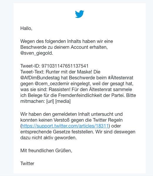 Zensur gegen Fakten: Ich hatte dazu aufgerufen, Belege für den Rassismus der @AfD_Bund zu schicken. Daraufhin wurde versucht, den Aufruf@twitter auf  zu entfernen. Twitter hat die Zensur abgelehnt. So groß ist also schon die Furcht, dass die Maske der Partei endlich fällt!