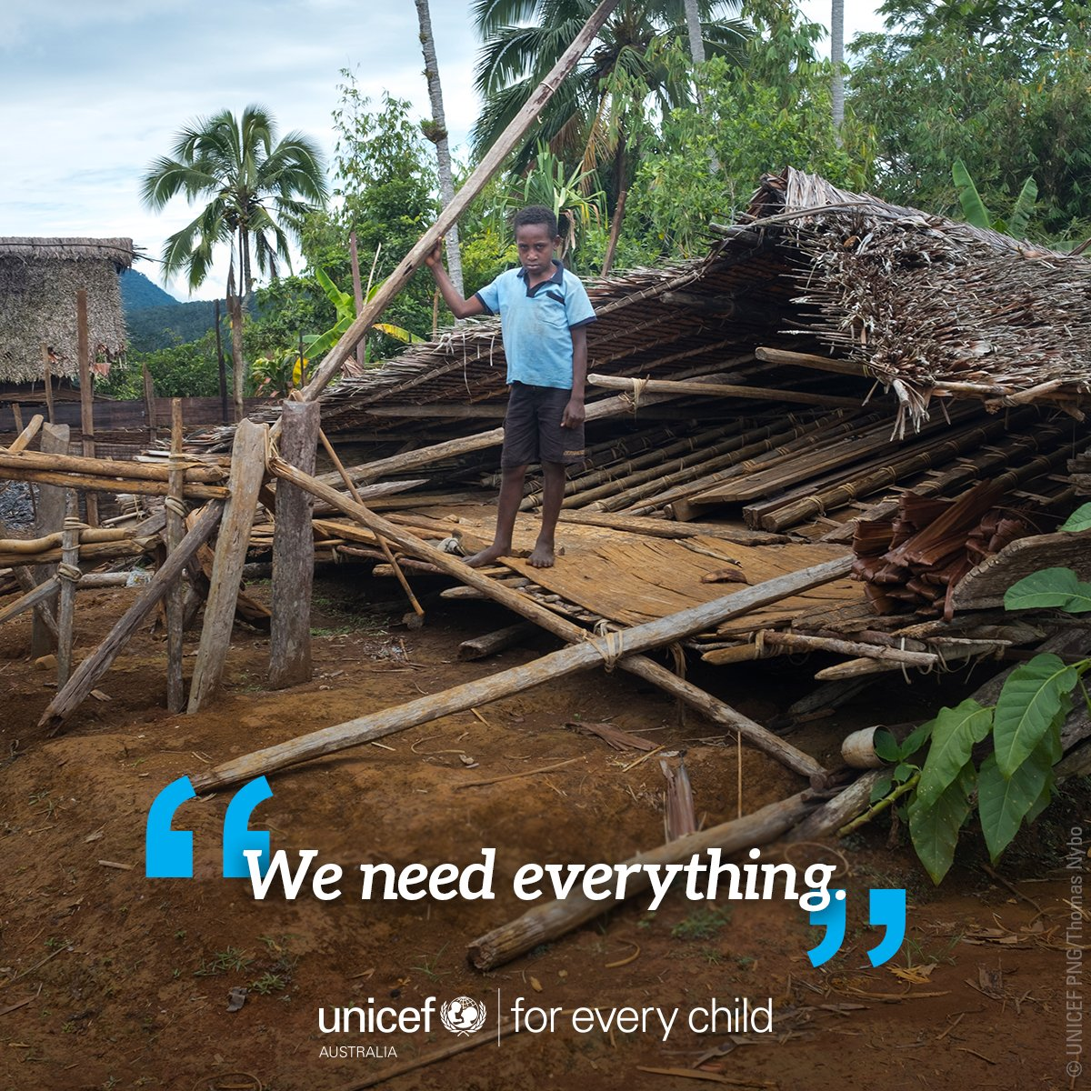 """""""I was terrified when the earth started shaking. I tried to run far away but it was dark and I was confused....We need everything. Food, shelter, mosquito nets. We have nothing."""" - Stanton, 10, Southern Highlands, #PNG"""