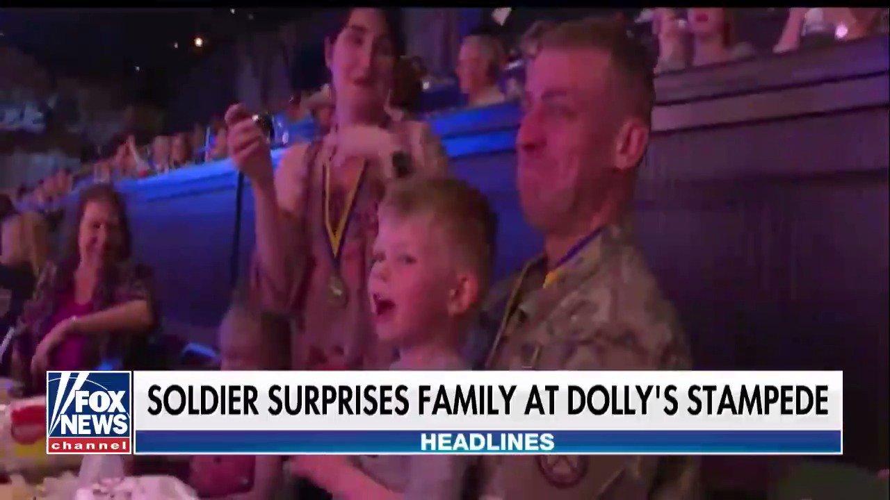 Soldier surprises family at Dolly Parton's Stempede @foxandfriends https://t.co/8BAynfIPBm