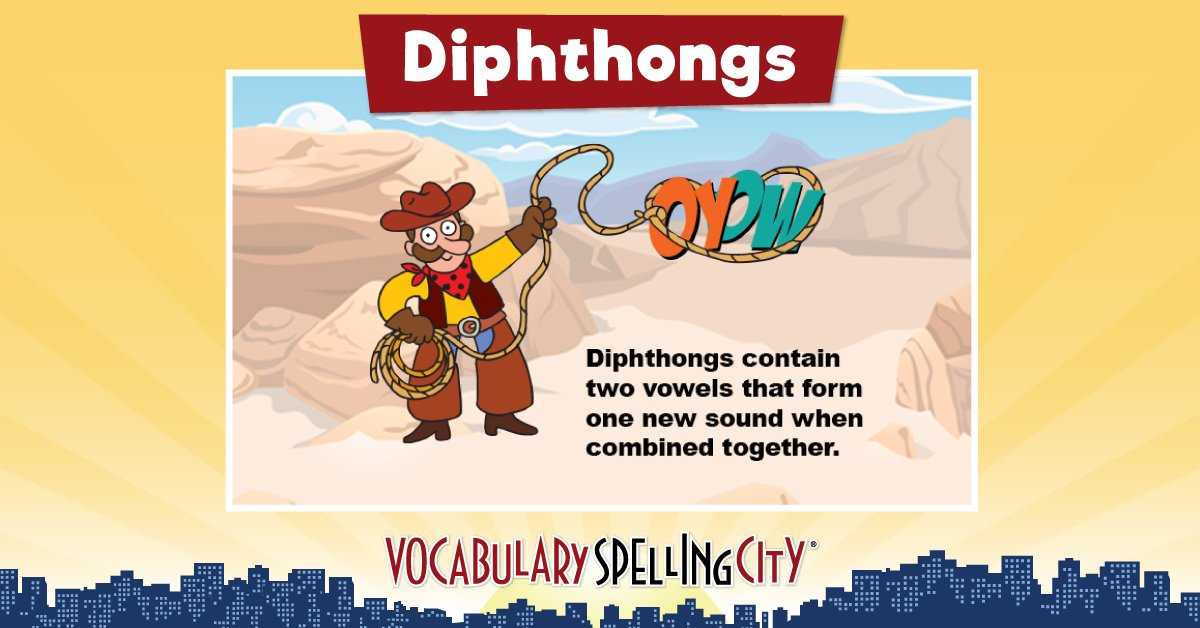 Spellingcity spellingcity twitter did you know the letters ow and oy are diphthongs head on over to our teaching resources to learn more httpbitvscdiphthongs phonics elemed fandeluxe Choice Image