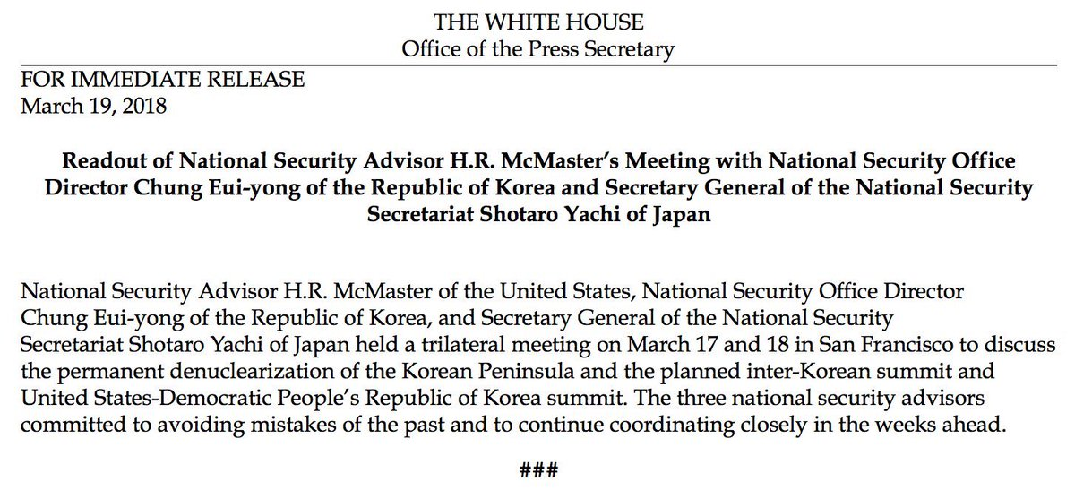 NEW: White House issues readout of meeting between National Security Adviser H. R. McMaster and South Korean, Japanese counterparts. 'The three national security advisors committed to avoiding mistakes of the past and to continue coordinating closely in the weeks ahead.'