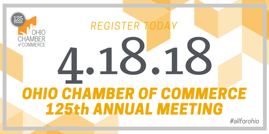The Ohio Chamber 125th Annual Meeting & Legislative Reception is coming up next month and features OSU Head Football Coach, Urban Meyer, as the keynote speaker. Space is limited, so register today! bit.ly/2oTRm9r