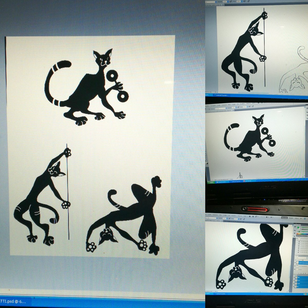 Mici, photoshop e bamboo... #wip #cats #photoshop #art #sphinx #sphinxcat #bamboo #bamboowacom #workinprogress #gatti #gattoegiziano #illustration #illustrazione #sport #poledance #fitness #training #comics #blackcatpic.twitter.com/Vf4UE69XtZ