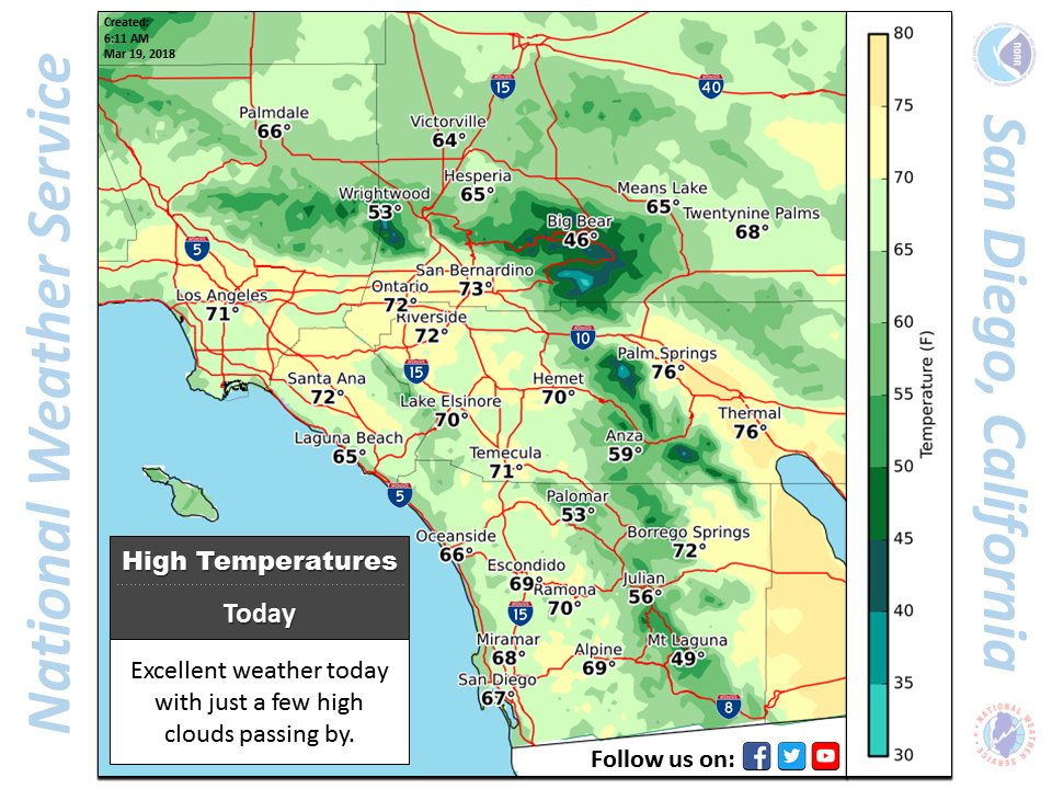 A quick look at the highs for today /  Should be a nice day out there / #cawx #socal