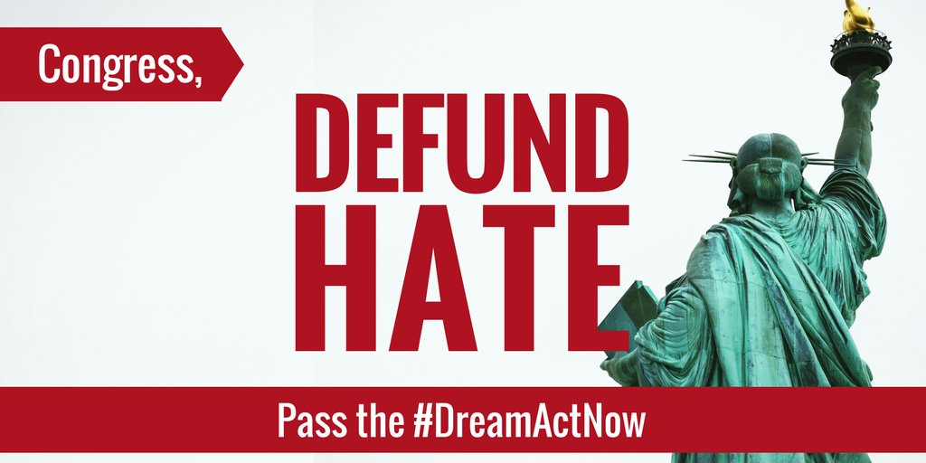 Trump is trying to use the 2018 budget to pass unprecedented levels of funding for his hate agenda that would lock up and break up immigrant families. Call Congress to demand they #DefundHate and pass the #DreamActNow!