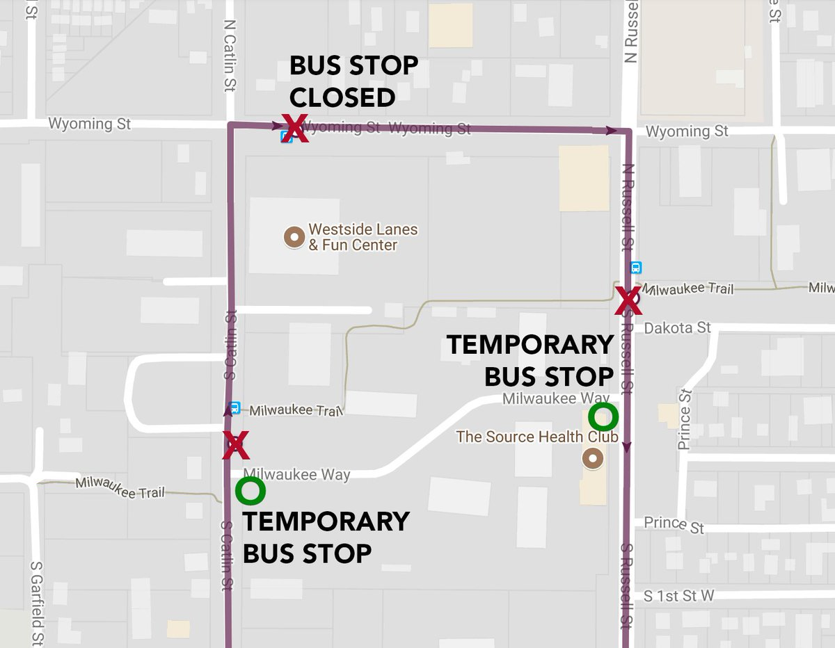 We just learned that Catlin will be closed this week for construction. Effective immediately, the bus stop at Westside Lanes will be closed. Please see the detour map for alternate stops. We're sorry for any inconvenience. #UDASH #PurpleLine