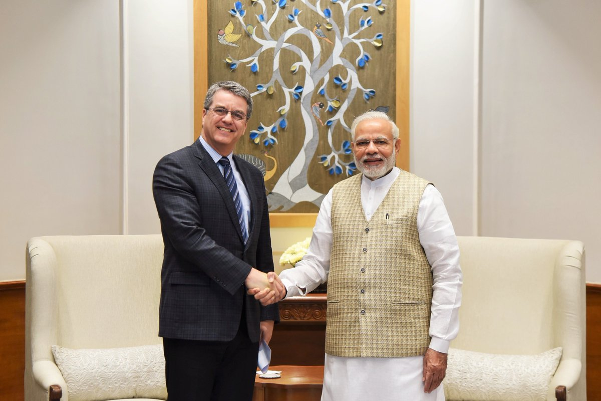 Had a wonderful meeting with Mr. Roberto Azevêdo, Director-General of the @wto. @WTODGAZEVEDO